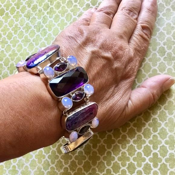 Artisan Jewelry - Botswana Drusy Amethyst & Opal Gemstone Bracelet